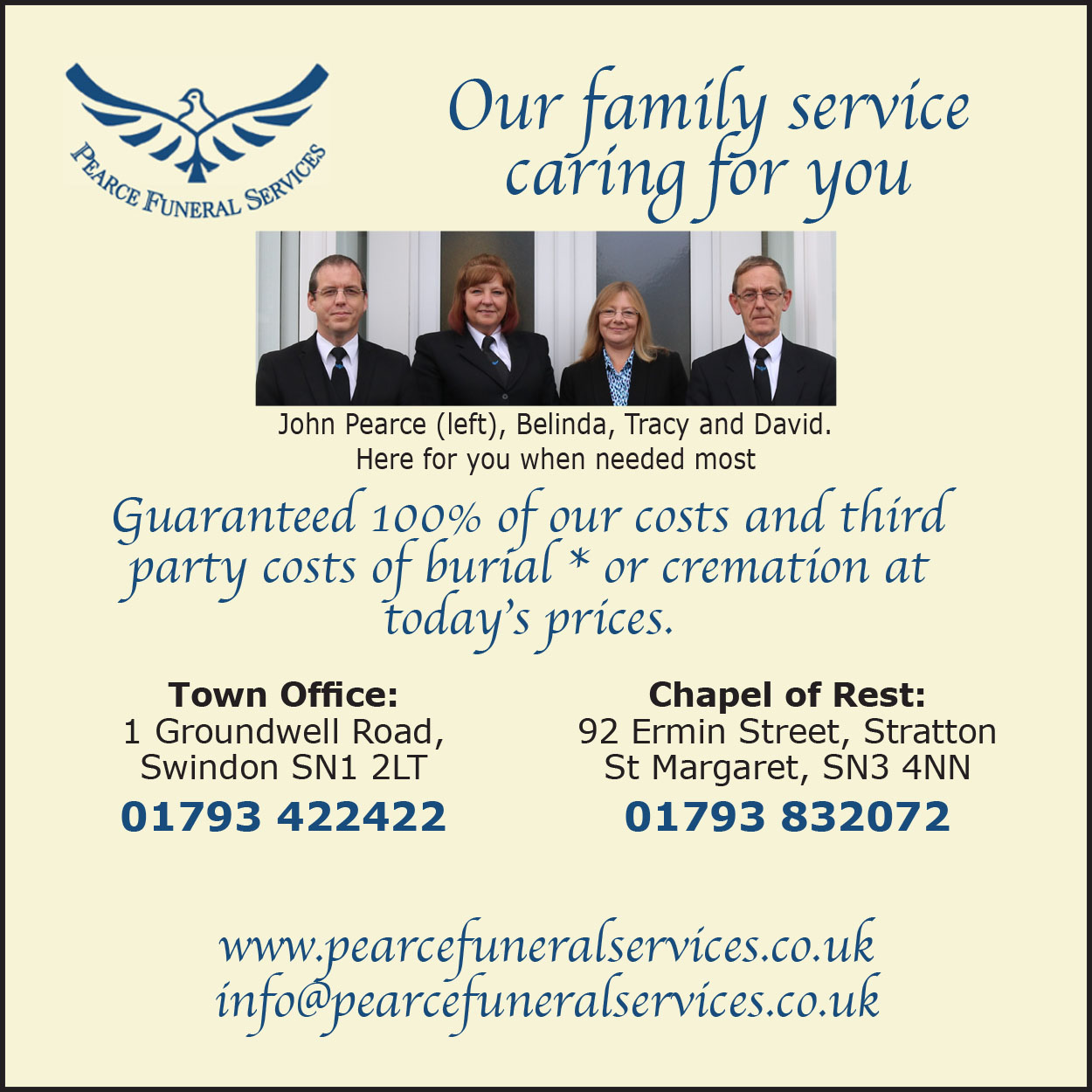 Pearce Funeral Services - Leave till May 20