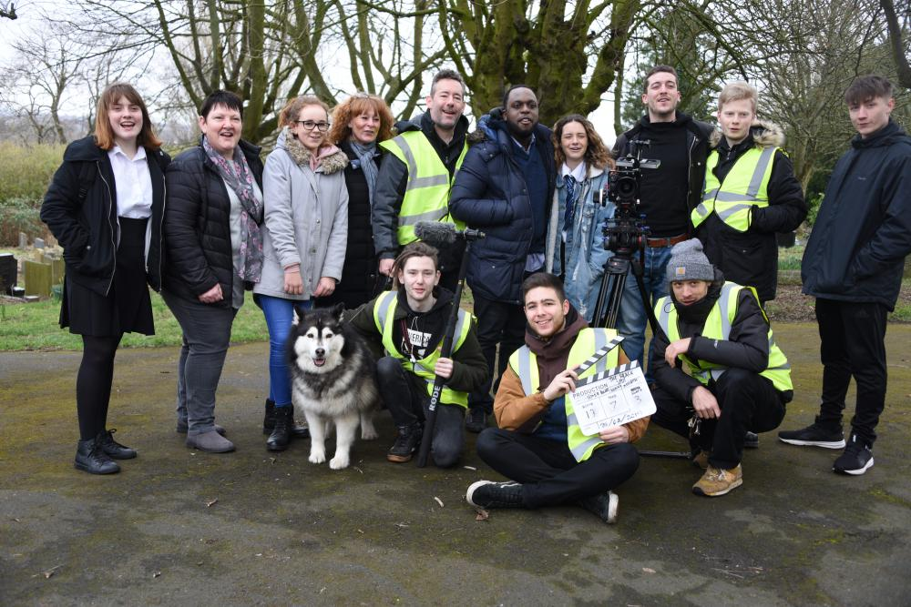 Film crew on location for The Black Spot