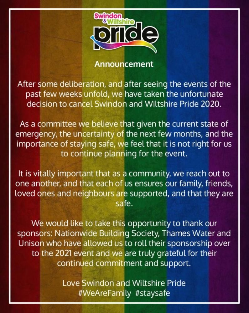 Swindon and Wiltshire Pride cancels this year's event