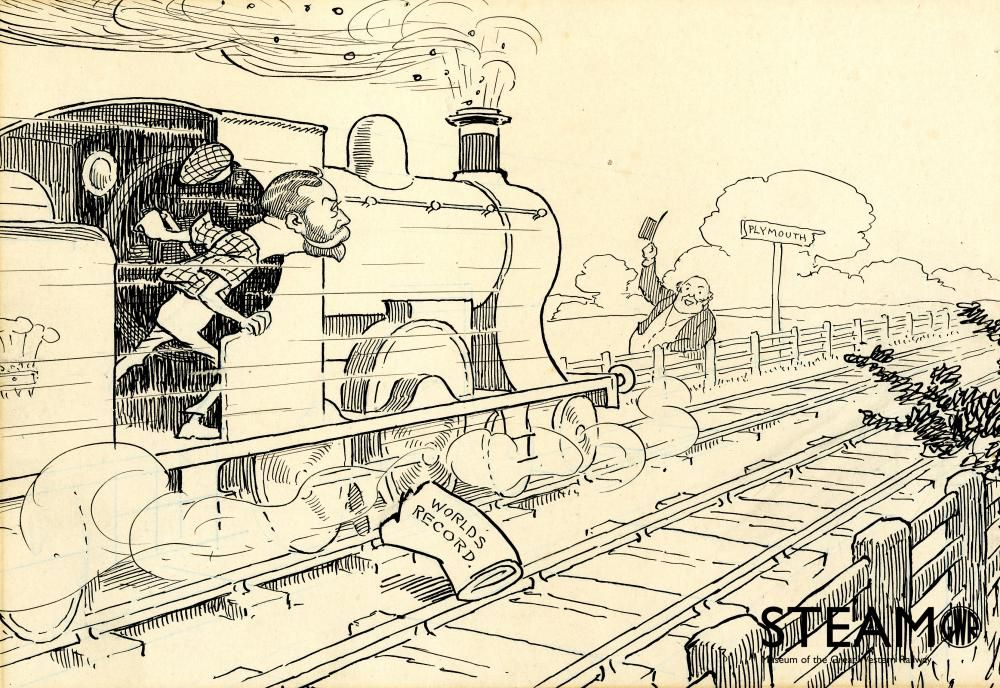 King George V (when Prince of Wales) depicted as driving a World record breaking train. He was a passenger on the train, hauled by the City of Bath, which broke a World record between London and Plymouth in July 1903.