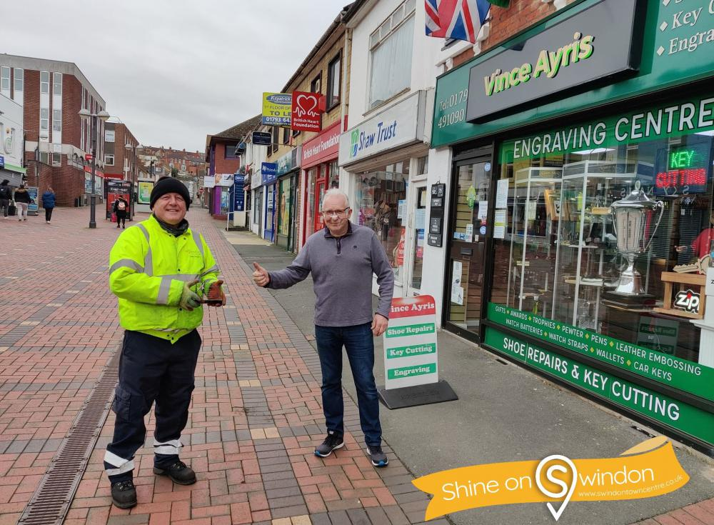 Town Centre Caretaker Freddy Frankland, left, with veteran business owner Vince Ayris