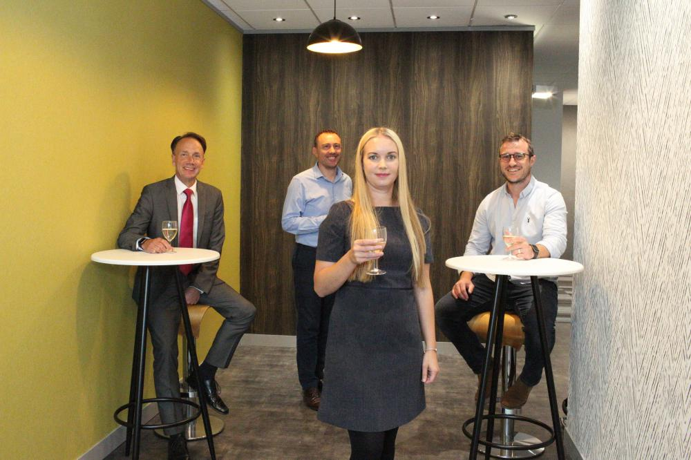 From left: Alex Wilkie of Swindon Financial Services,  Jason Griffiths of Swindon Property Group, Danielle Mottram of Rombourne and Ryan Surry (INTASO).