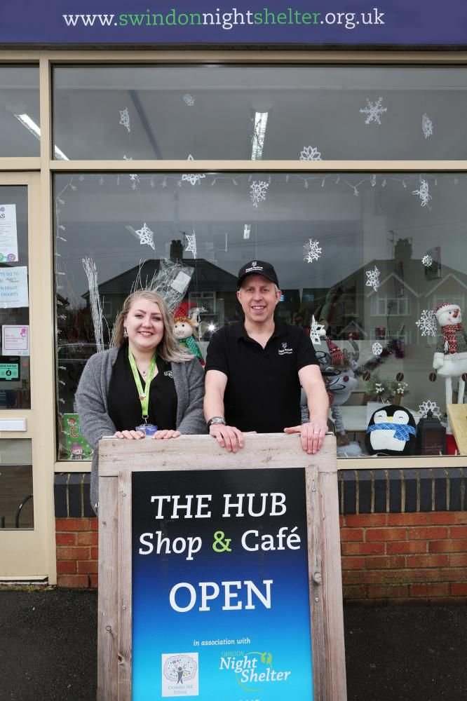 Paul Harding with Megan Abbott, assistant manager of The Hub Shop & Cafe