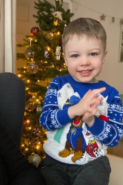 Samuel and his mum and dad are looking forward to spending Christmas together