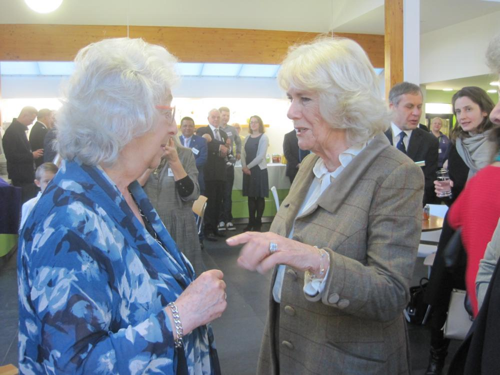 HRH Camilla, Duchess of Cornwall tours Prospect Hospice for embroidery unveiling