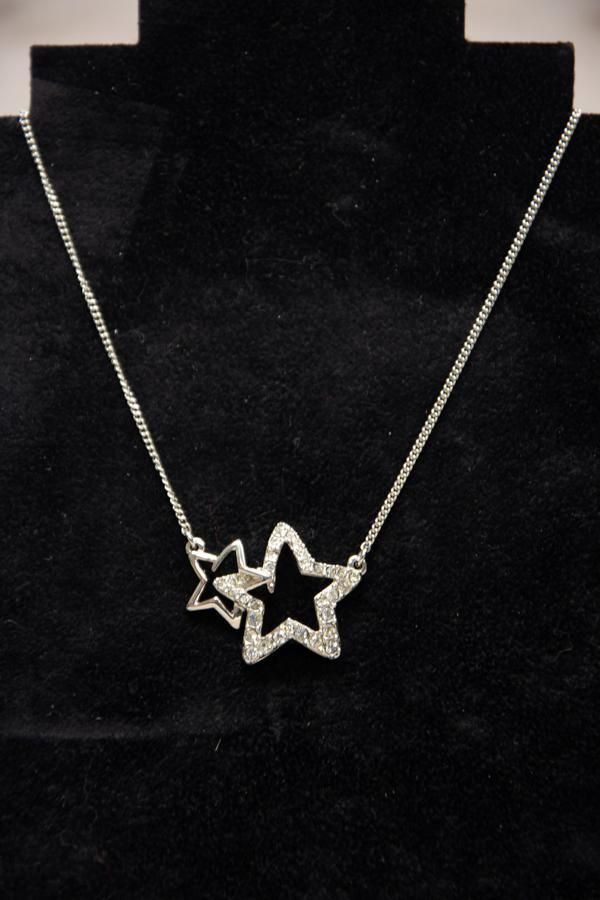 Ted Baker silver coloured twin-star necklace