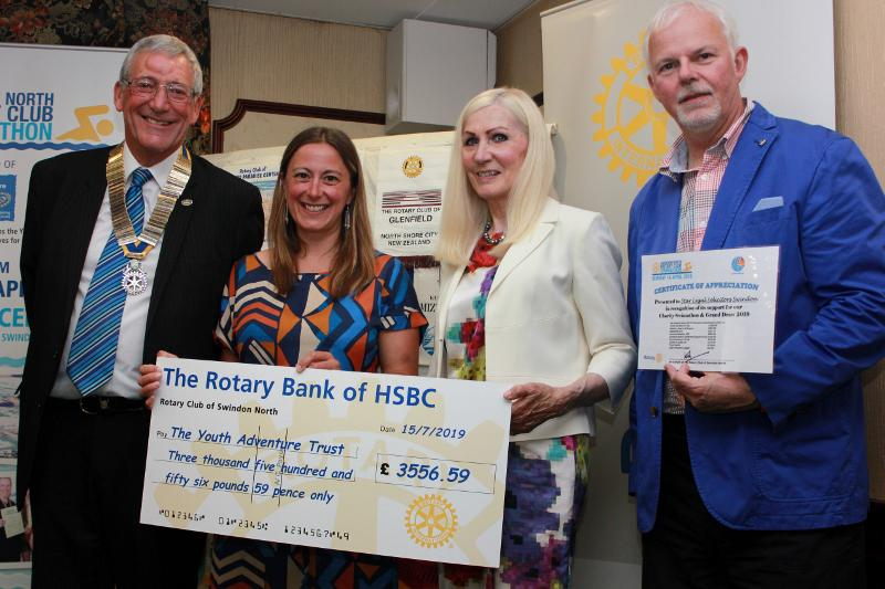 Louise Balaam from the Youth Adventure Trust, Rotary Club President Robin Elliott, Past-President Ann Debureaux-Dias and Vaughan Fullagar of Star Legal, one of the sponsors of the event