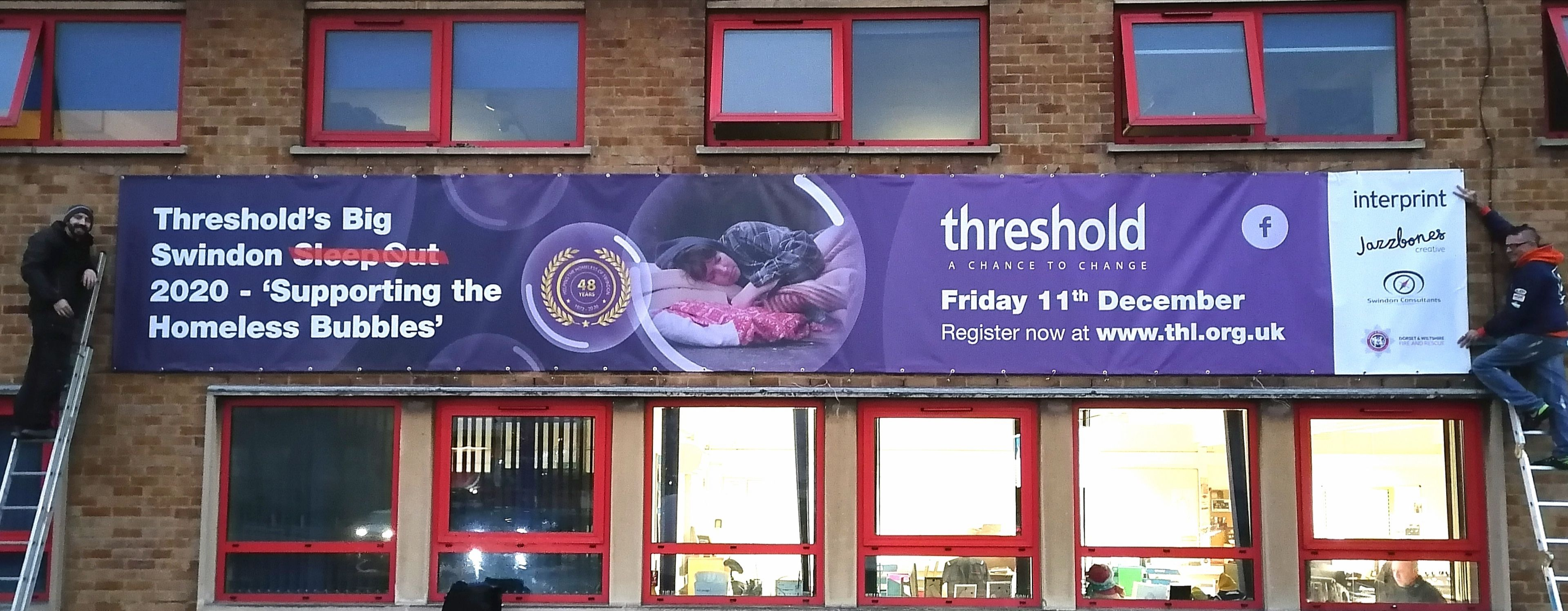 A Threshold banner at Swindon Fire Station