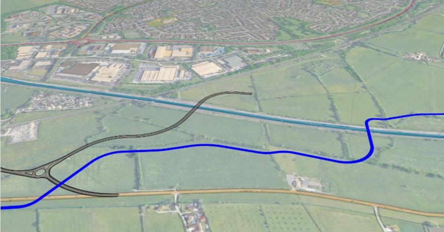 The planned course of the canal is shown in blue