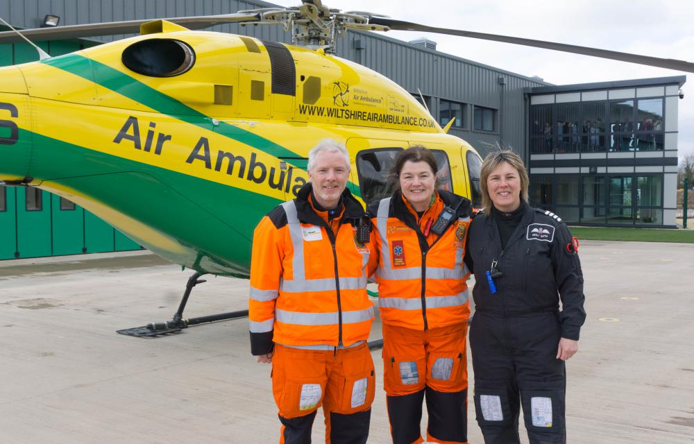 Wiltshire Air Ambulance pilot Nicky Smith (right) with paramedics Steve Riddle and Jo Gilbert