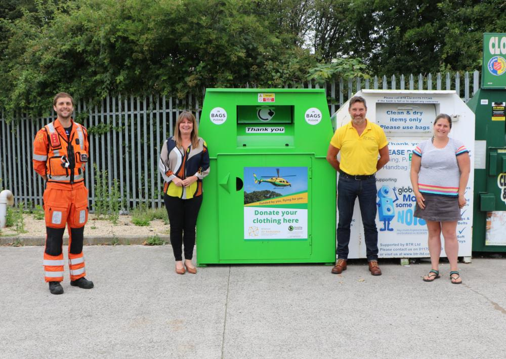 From left: Wiltshire Air Ambulance critical care paramedic Ben Abbott, Wiltshire Air Ambulance director of fundraising and communication Barbara Gray, Wiltshire Air Ambulance fundraising manager Des Regan and Recycling Solutions' Wendy Yarney unveil the clothing bank in Melksham