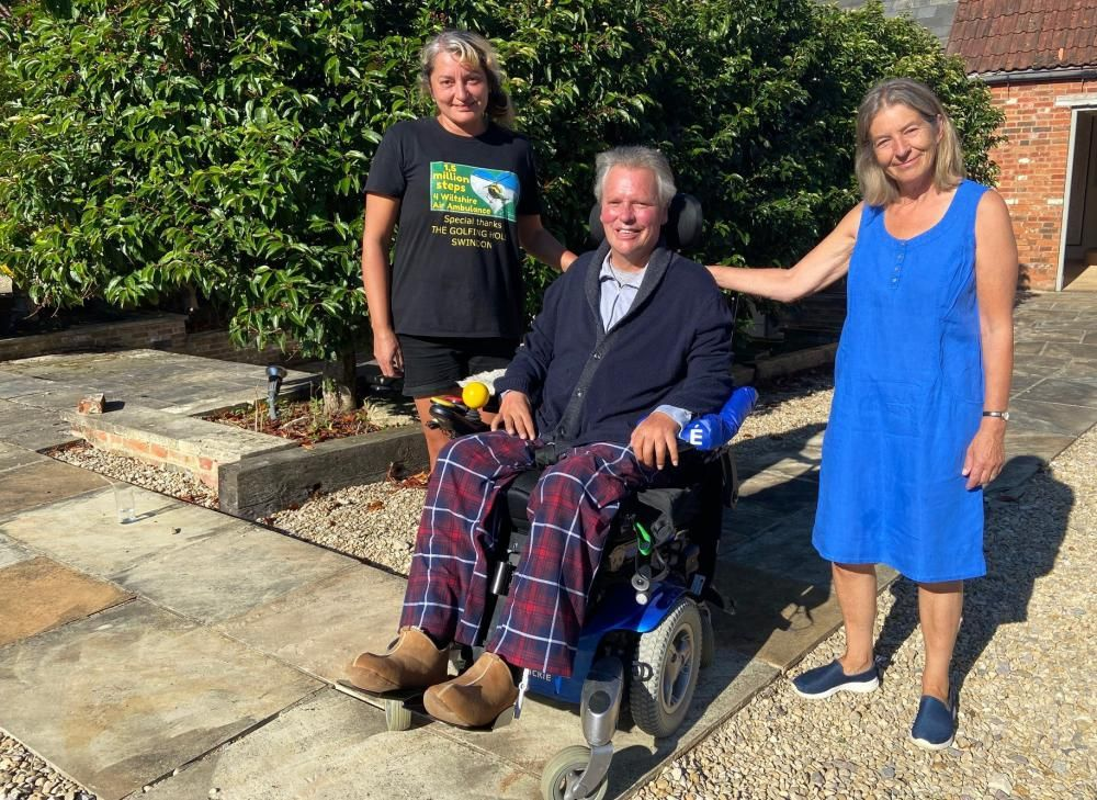 From left: Carer Tina Ceferin, George Kershaw and wife Sarah Kershaw
