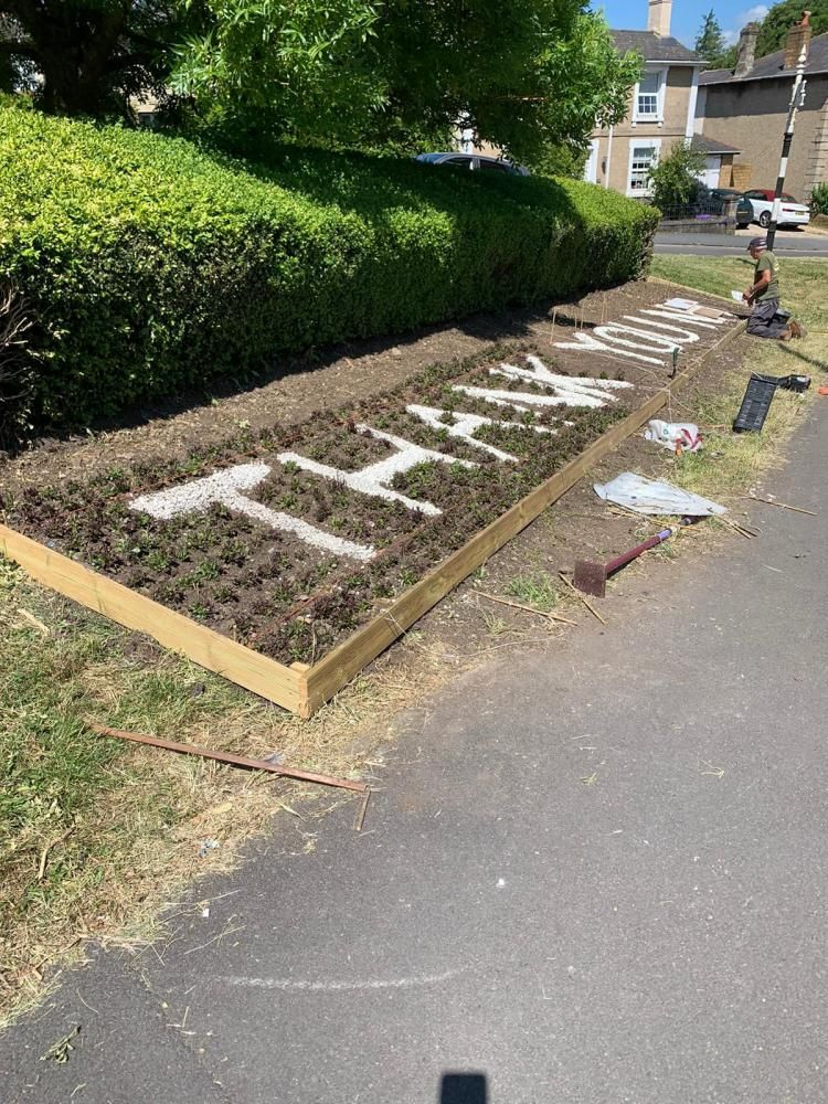 Drove Road flower bed used to thank NHS workers
