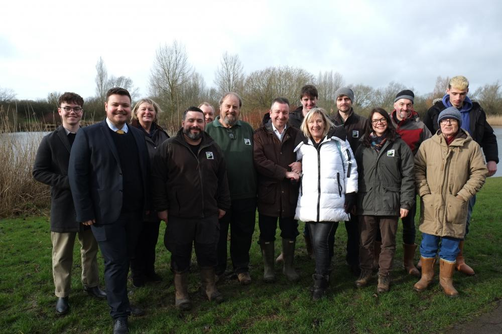 Councillors Gary Sumner and Maureen Penny join WWT staff and volunteers to launch the Forest Meadows Project at Mouldon Hill Country Park, Swindon (credit: Chris Noyce)