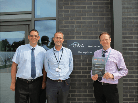 Graham Davis, Principal of the Academy, with Richard Dewey, Project Manager for BAM Construction and Andrew Hamer, Capital Projects Manager for the Department for Education