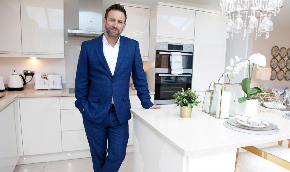 Richard James in a new Bellway home in Tadpole Garden Village. Richard is a well known Swindon and Wiltshire estate agent and key figure in the Switch On To Swindon movement.