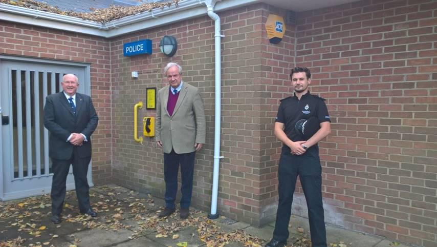 From left: Police and Crime Commissioner Angus Macpherson, North Wiltshire MP James Gray and Inspector Doug Downing