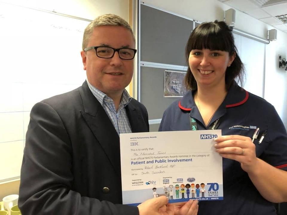 South Swindon MP Robert Buckland presents award certificates to 'local health heroes' as part of NHS at 70
