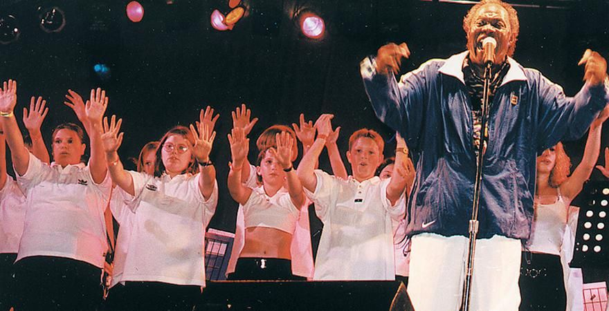 Backing the Soul Man Sam Moore at the Wiltshire Festival in August 1998