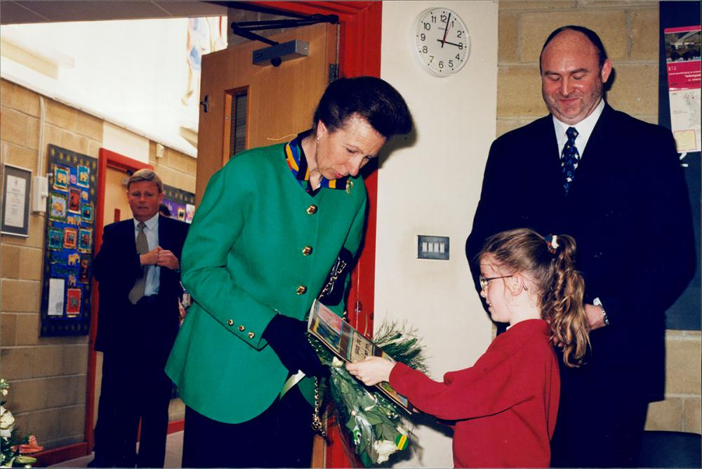 HRH at Westlea Primary School headteacher Neil Griffiths in 1998
