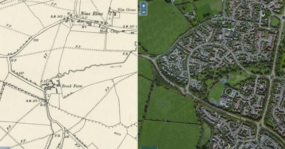 Brook Farm on the 1888 Ordnance Survey map and its location today on the edge of West Swindon. Interestingly Lydiard Brook, which drains from Lydiard Park, once flowed to the north of the farm and was re-routed to flow to the south. Image from https://maps.nls.uk/geo/explore/side-by-side/#zoom=16&lat=51.5678&lon=-1.8454&layers=6&right=BingHyb