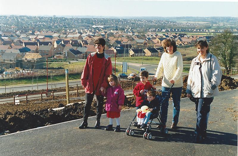 Parents who had moved to the new housing in North Swindon, from left, Julia and Sarah Beck; Karen, Jack and Abbie Fawcett; Julie and Thomas Williams. The image accompanied Prof Boddy's article in the March 1998 edition of Swindon Link magazine