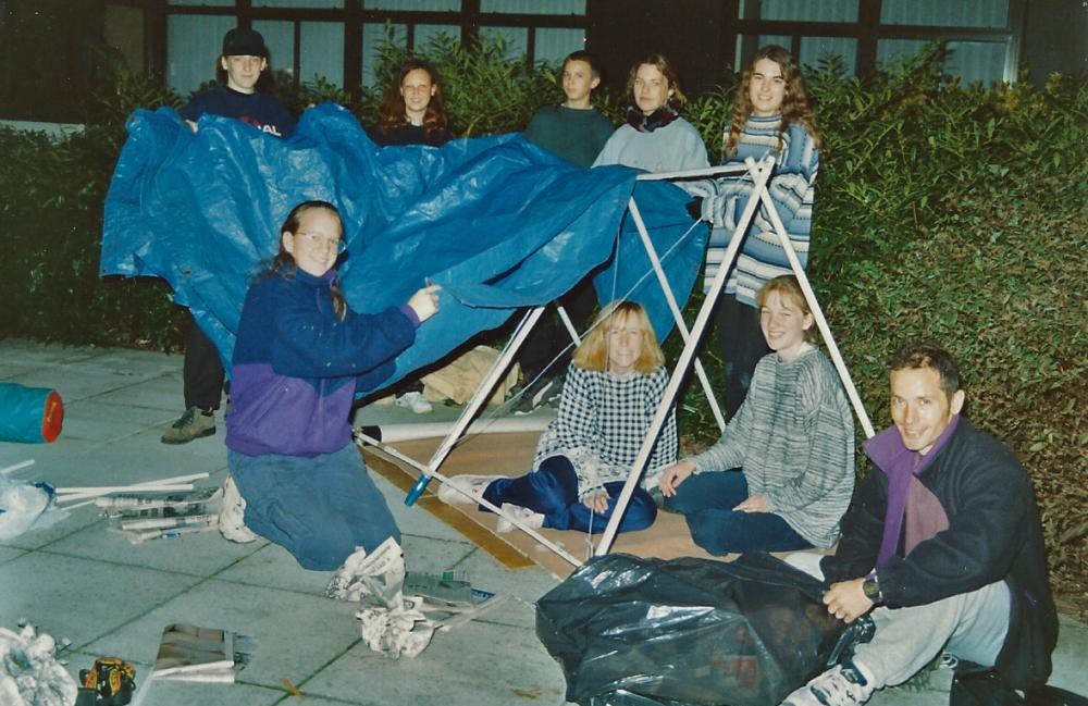 1995 November: Duke's award followers sleep out in home made shelters