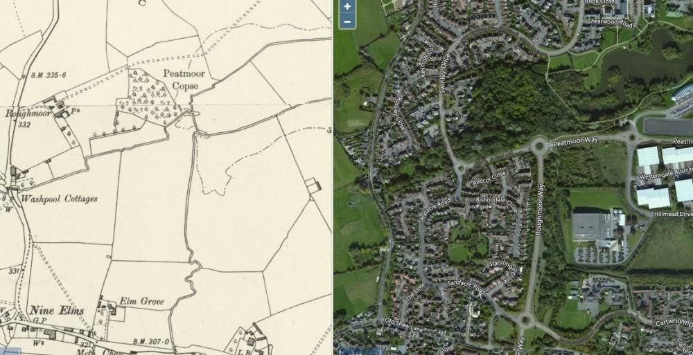 Roughmoor Farm, past and present. Image © National Library of Scotland https://maps.nls.uk/geo/explore/side-by-side/#zoom=16&lat=51.5742&lon=-1.8395&layers=6&right=BingHyb