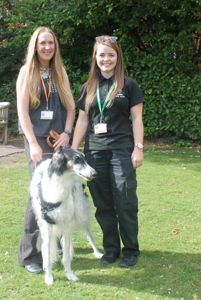 Alison Waine (left) with her rescue dog Mila and fellow Animal Warden Jordan McEwan